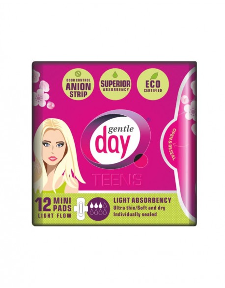 GENTLE DAY Teens Mini Eco Certified Pads (Towels) with Anion Strip 12 PC