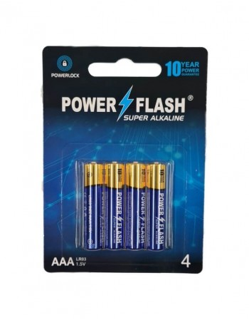Элементы питания POWER FLASH Super Alkaline AAA LR03 1,5V