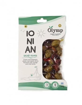 Rohelised kividega oliivid ja kalamata Olymp IONIAN marineeritud, 250 g